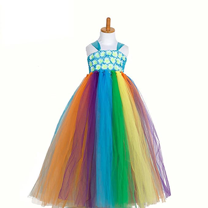 obtai Flower Girl Rainbow Tulle Dress Ball Gowns Layered Tiered Ruffle Bubble Skirt (56CM,