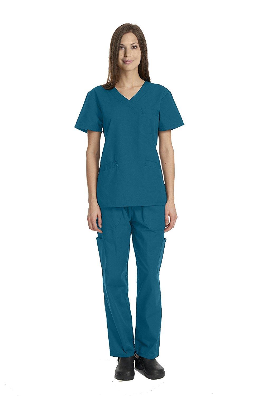 Deluxe 4pk Medical Scrubs for Women Nurse Uniform Set Solid V-Neck, 7 Pocket - Caribbean, Medium