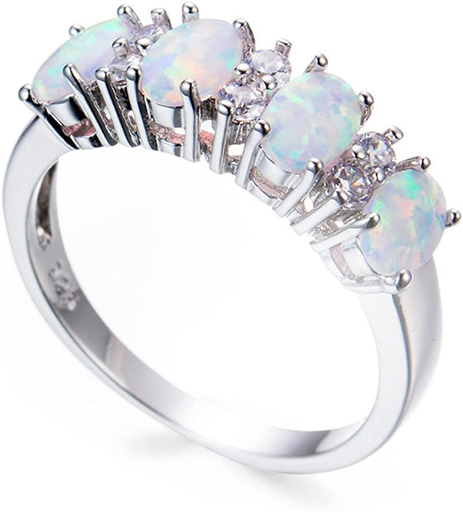 F/&T JEWEL White Fire Opal Fashion Jewelry Ring For Women Engagement Wedding Bridal Rings