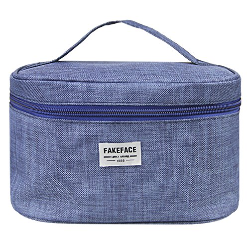 FakeFace Waterproof Handy Toiletry Bag/Large Capacity Makeup Organizer/Cosmetic Bag/Portable Travel Kit Organizer/Household Storage Pack Holder, Zipper Closure (Navy - Stores Tory Carry That Burch