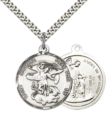 Amazon f a dumont church supplies sterling silver st michael f a dumont church supplies sterling silver st michael the archangel pendant with 24quot stainless aloadofball Choice Image