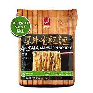 A-SHA Healthy Ramen Noodles - Medium Mandarin Style - Original Flavor Sauce Pack Included - 1 Bag (5 Servings)