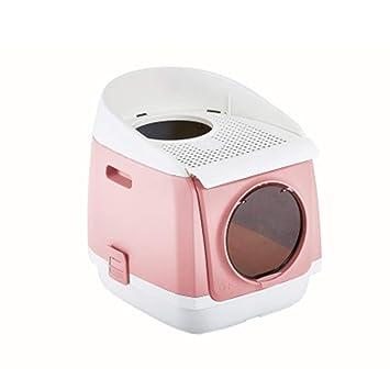 Inodoro Cat Completamente Cerrado De Doble Puerta Caja De Arena Cat Gratis WC Plegable Antideslizante para Gatos 54.9 * 42 * 49.2Cm,Pink: Amazon.es: Hogar