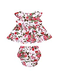 Baby Girls 2pcs Clothes Skirt Set Peony Leaf Ruffled Floral Dress+ Bottom