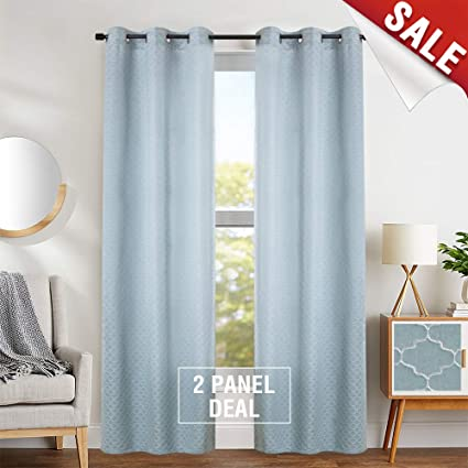 Amazon.com: Curtains for Living Room Turquoise Jacquard Window ...