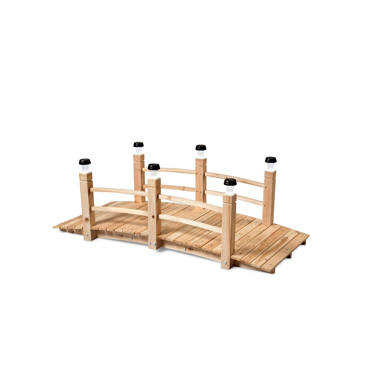 Improvements 5' Cedar Garden Bridge with Removable Plugs for Solar Lights (Solar Lights Not Included)