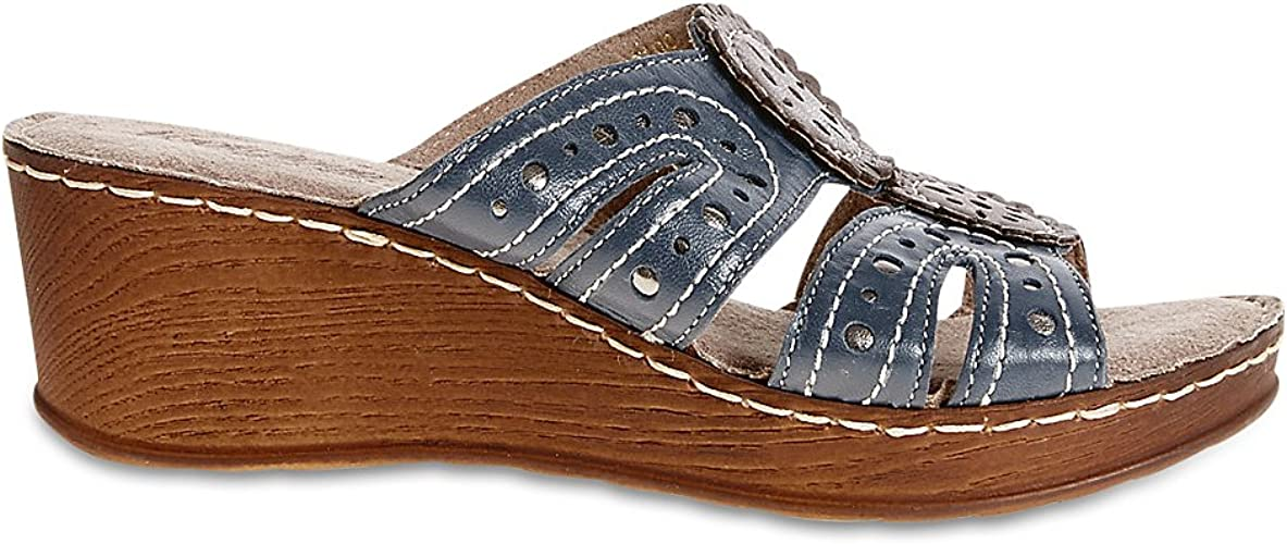 Wide Fit Leather Wedge Heel Slip-on