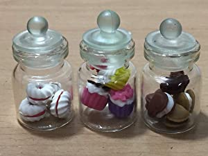 3pc Miniature Chocolate Cookie Cake Dollhouse Donut Candy Bread in Clear Glass Mini Bottle Fruit Food #MF081