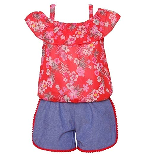 482b5cba9c012 Little Girls Red Floral Print Off-Shoulder Top 2 Pc Shorts Outfit 4T