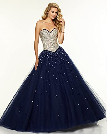 8e05db9cb5 Size 16 Gold Long Navy Blue Prom Dress Tulle 2016 Sweetheart Ball Gown Prom  Dresses Plum Coral Sparkly Evening Dress Corset robe de soiree   Amazon.co.uk  ...
