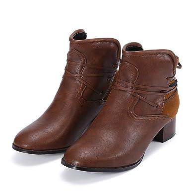 Yvelands Fashion Retro - Zapatos de tacón bajo con tacón Trasero y Antideslizantes para Mujer Botas Cortas con Punta Redonda: Amazon.es: Ropa y accesorios