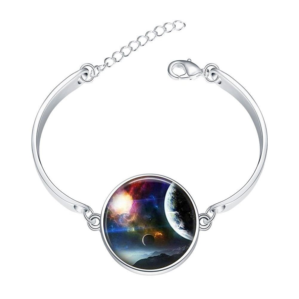 Adjustable Silver Bracelets Earth and Moon Hand Chain Link Bracelet Clear Bangle Custom Glass Cabochon Charm