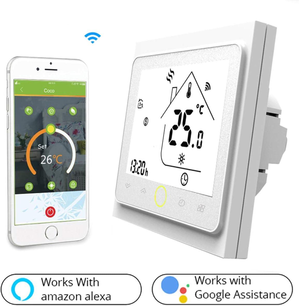 Termostato Inteligente para caldera de gas/agua,Termostato Calefaccion Wifi Pantalla LCD (pantalla TN) Botón táctil retroiluminado programable con Alexa Google Home and Phone APP-Blanco