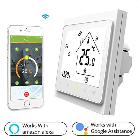 Termostato Inteligente para caldera de gas/agua,Termostato Calefaccion Wifi Pantalla LCD (pantalla TN) Botón táctil retroiluminado programable con ...
