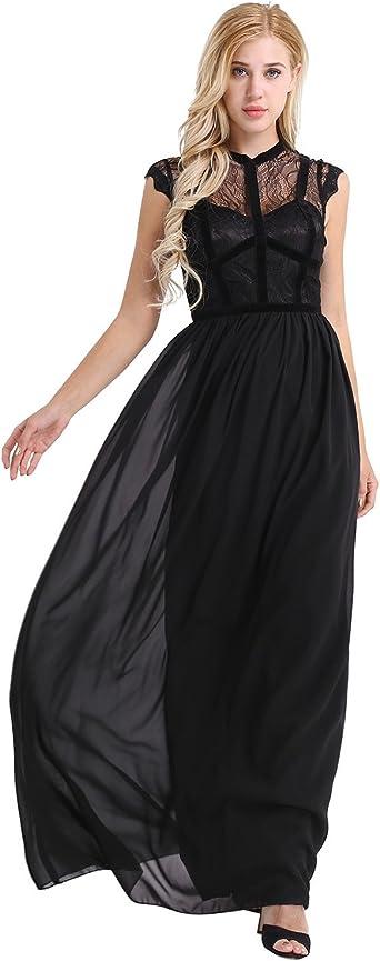 Noir Robe de soirée de cocktail longue dentelle sans manche