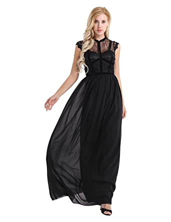 Yizyif Womens Elegant Sleeveless V Back Black Lace Bridesmaid Maxi