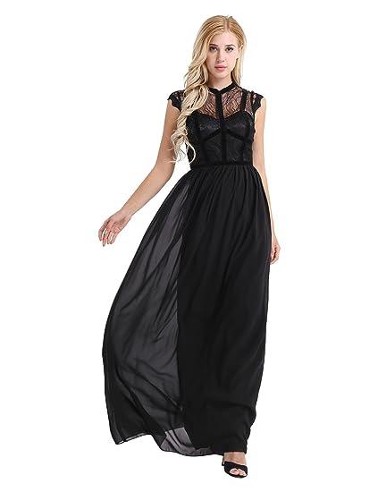 4b92b5b17e24 iiniim Women s Long Floral Lace Dress Cap Sleeve Semi-Formal Evening Party  Maxi Dress Black