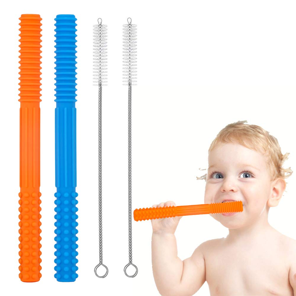 HATIKY Teething Tubes -Soft Silicone Baby teether-Helps Soothe Teething Irritation for Babies -Durable Hollow Food Teether for Infant and Toddlers
