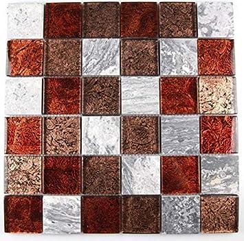 1 Matte Glasmosaik Mosaikfliesen Marmoriert Glas Grau Braun Braun