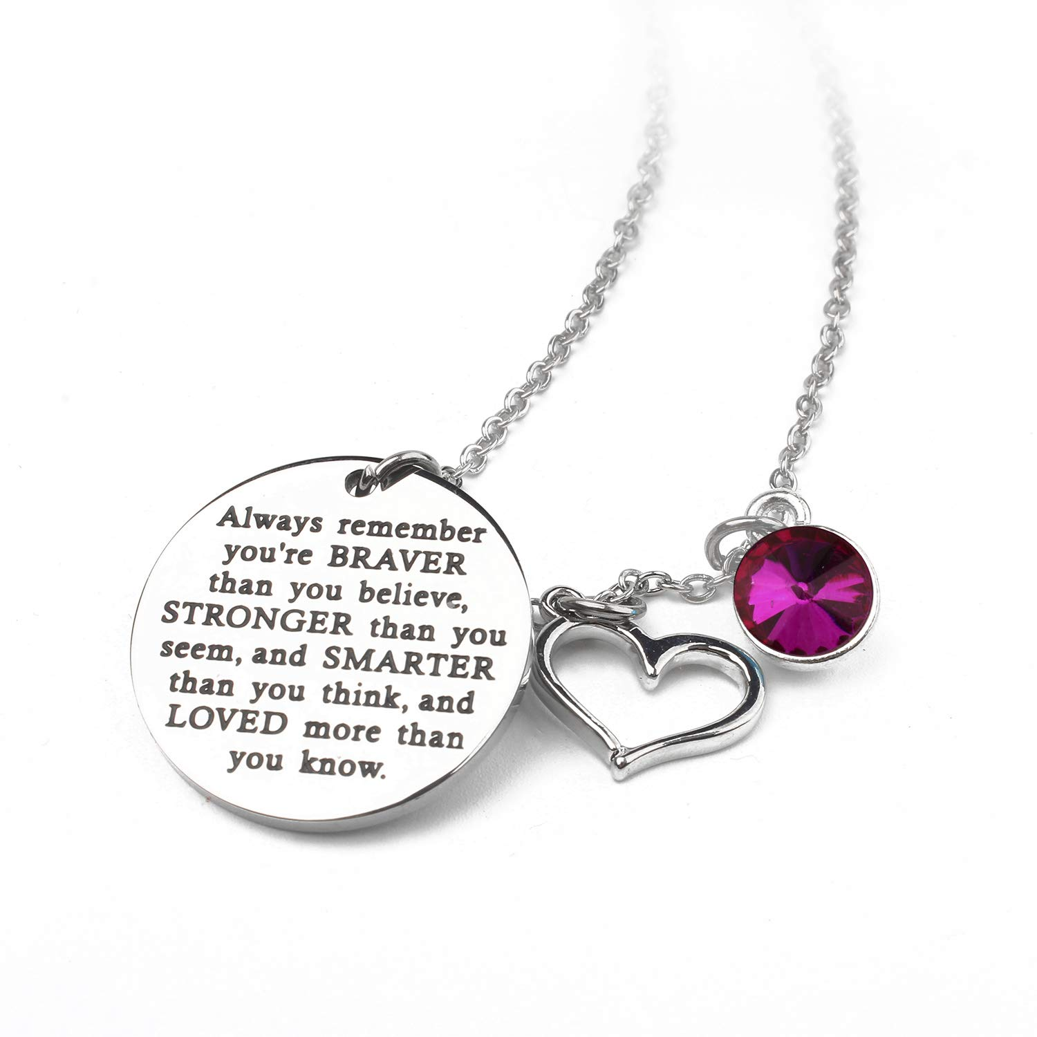 Zaoming You are Braver Than You Believe Inspirational Necklace Birthstone Graduation Gift Best Friend Encouragement Gifts Birthday Gift
