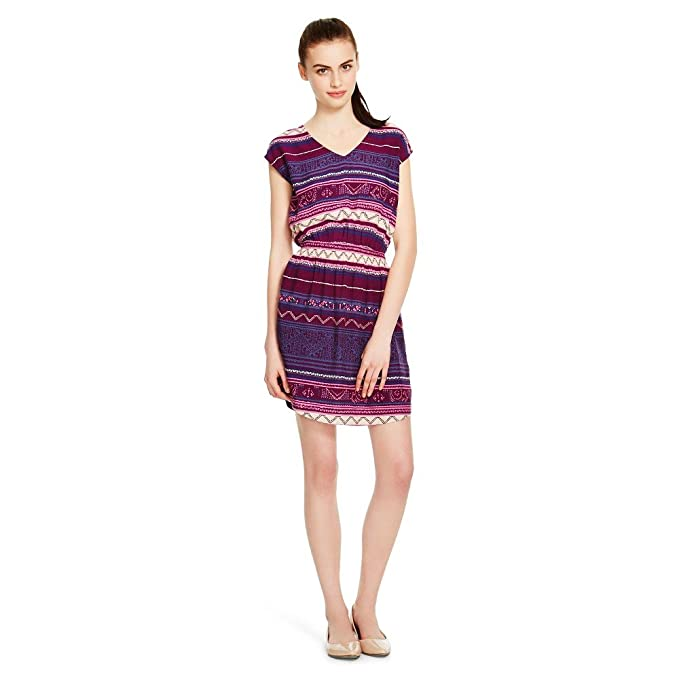 f86f802d13a Image Unavailable. Image not available for. Color  Mossimo Supply Co  Women s Woven A Line Dress Wine Stripe Print Short ...