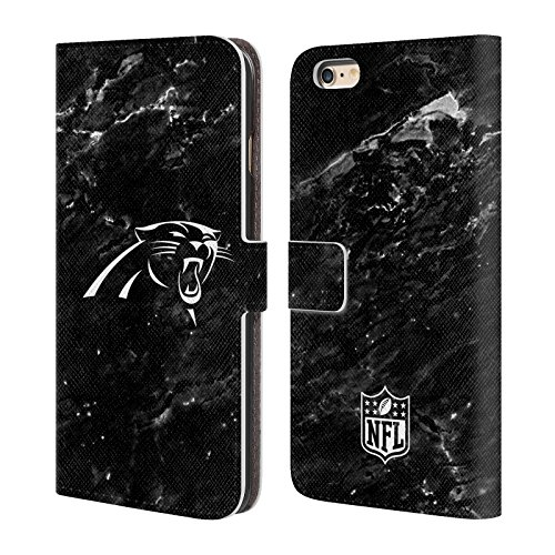 Official NFL Marble 2017/18 Carolina Panthers Leather Book Wallet Case Cover For Apple iPhone 6 Plus / 6s ()