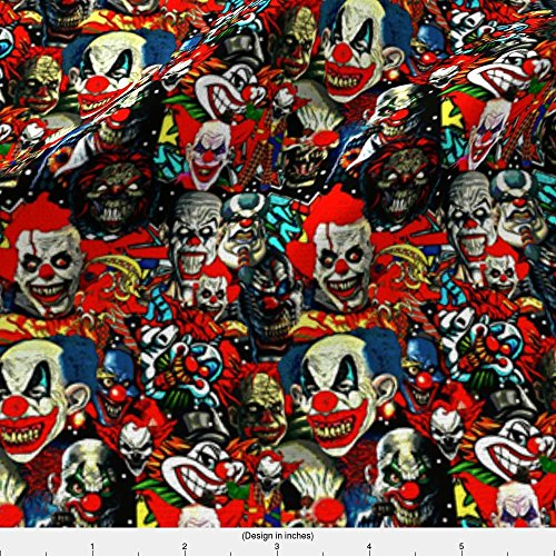 Spoonflower Clowns Fabric The Bad Boys by Whimzwhirled Printed on Basic Cotton Ultra Fabric by the Yard ()