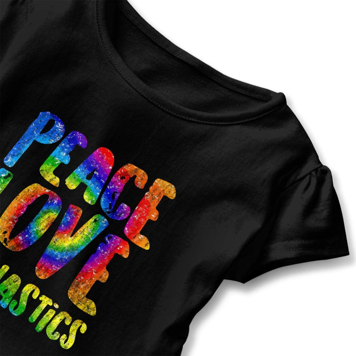 CZnuen Tie Dye Peace Love Gymnastics 2-6T Baby Girls Cotton Jersey Short Sleeve Ruffle Tee