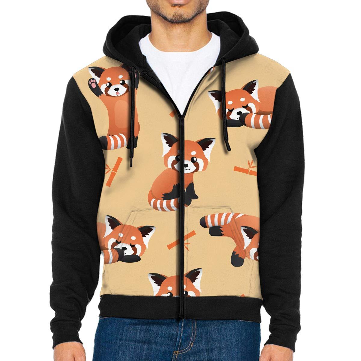 Mens Pullover Hood Cute Red Panda Zip Hoodies Hooded Fashion Jackets Coats