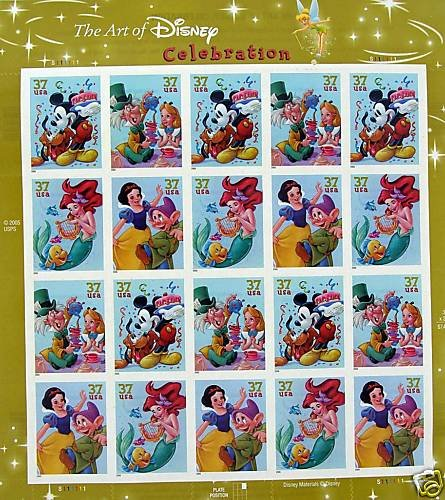 The Art of Disney: Celebration, Full Sheet of 20 x 37-Cent Postage Stamps, USA 2005, Scott 3912-15 ()