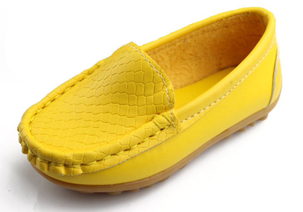 iDuoDuo Kids Casual Solid Embossed Slip on Loafers Yellow 3.5 M US Big Kid