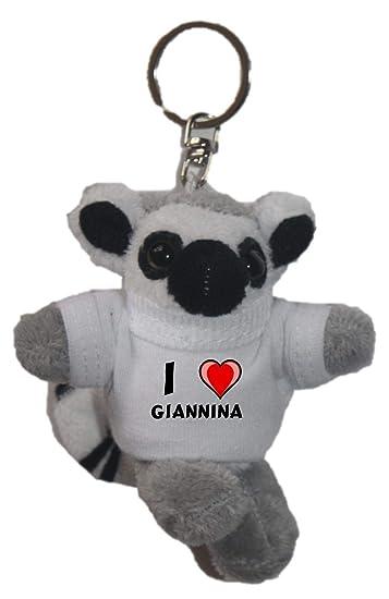 Amazon.com: Cachorro de peluche llavero con I Love Giannina ...