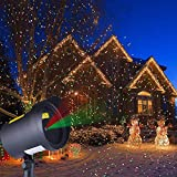 Christmas Lights Outdoor Projector,Moving Red and Green Stars Laser Lights for Christmas Decoration,Outdoor Lighting for Holiday,Party,Landscape,and Garden