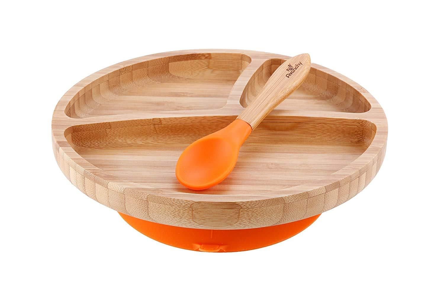 Avanchy Bamboo Suction Toddler Divider Plate & Spoon - 9 Months and Older - Silicon Suction - Stay Put Plate - 8.5
