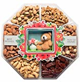 JUMBO Happy New Year Holiday Gift Baskets Fresh Variety of Gourmet Nuts - Miniature Handmade Teddy & Flowers - Top Gifts Idea for Christmas Holiday Men Women and Family - 2 Lb Tray (Mini Wishes)