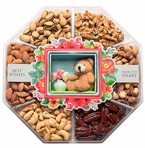 JUMBO Happy New Year Holiday Gift Baskets Fresh Variety of Gourmet Nuts - Miniature Handmade Teddy & Flowers - Top Gifts Idea for Christmas Holiday Men Women and Family - 2 Lb Tray (Mini Wishes) (Delivery Fruit Flower)