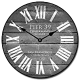 Pier 39 Gray Wall Clock, Available in 8 Sizes, Most Sizes Ship 2-3 Days, Whisper Quiet.