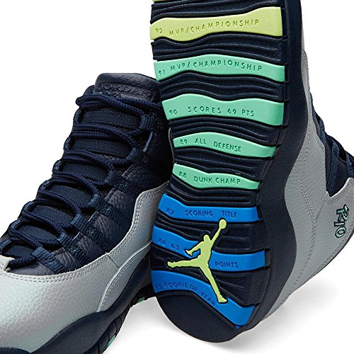 Nike Mens Air Jordan Retro 10 Scarpe Da Basket, Grigio Grigio (lupo Grigio / Pht Bl-obsdn-grn Glw)