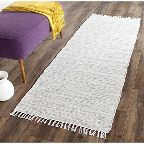 Safavieh Montauk Collection MTK753A Handmade Flatweave Silver Cotton Runner (2'3