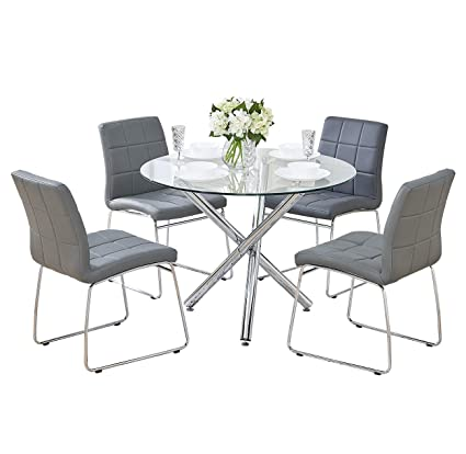 Swell Gizza Small Round Clear Glass Dining Table And 2 4 Sled Based Grey Black White Faux Leather Chairs Set Crisscrossing Chrome Metal Legs Kitchen Room Download Free Architecture Designs Scobabritishbridgeorg
