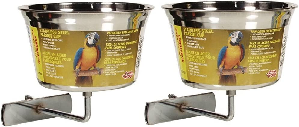 Hagen (2 Pack) Living World Stainless Steel Parrot Cups, 32-Ounce