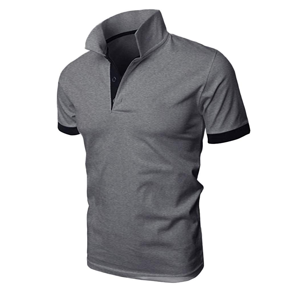 Men's Patchwork Shirt Double Color T-Shirts Top Blouses Men's Short Sleeve Slim Patchwork T Shirt (M, Black)