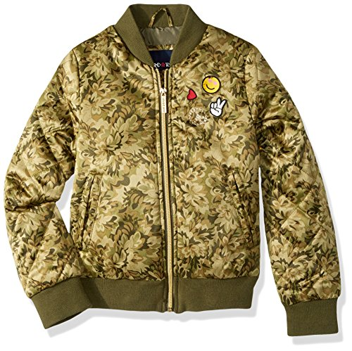 Limited Too Big Girls' Too Bomber W/Patches and Quilted Sleeves, Camoflauge, (Girls Quilted Bomber Jacket)