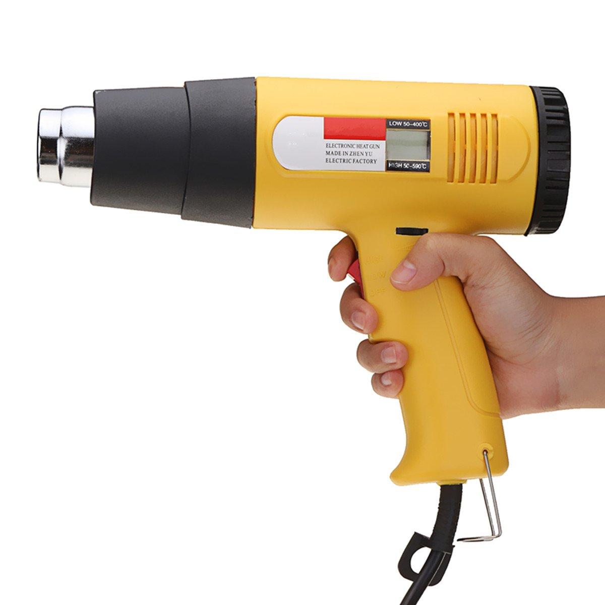 Soldering Tools - 2000W AC 220V LCD Digital Hot Air Heat Gun Temperature Adjustable Nozzle Yellow