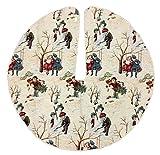 Pinnacle Peak Trading Company Victorian Children in the Snow German Fabric Christmas Tree Skirt 51 In Diameter