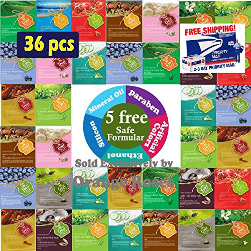 {Entel} 36 Pcs Combo-Pack, Premium Korean Essence Facial Mask Sheet (12 Types x 3 pcs), Five Chemical Free : No Paraben, No Silicon, No Mineral Oil, No Artificial Colors,No Ethanol