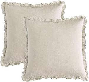 PHF 100% French Linen Euro Sham with Ruffle, 26