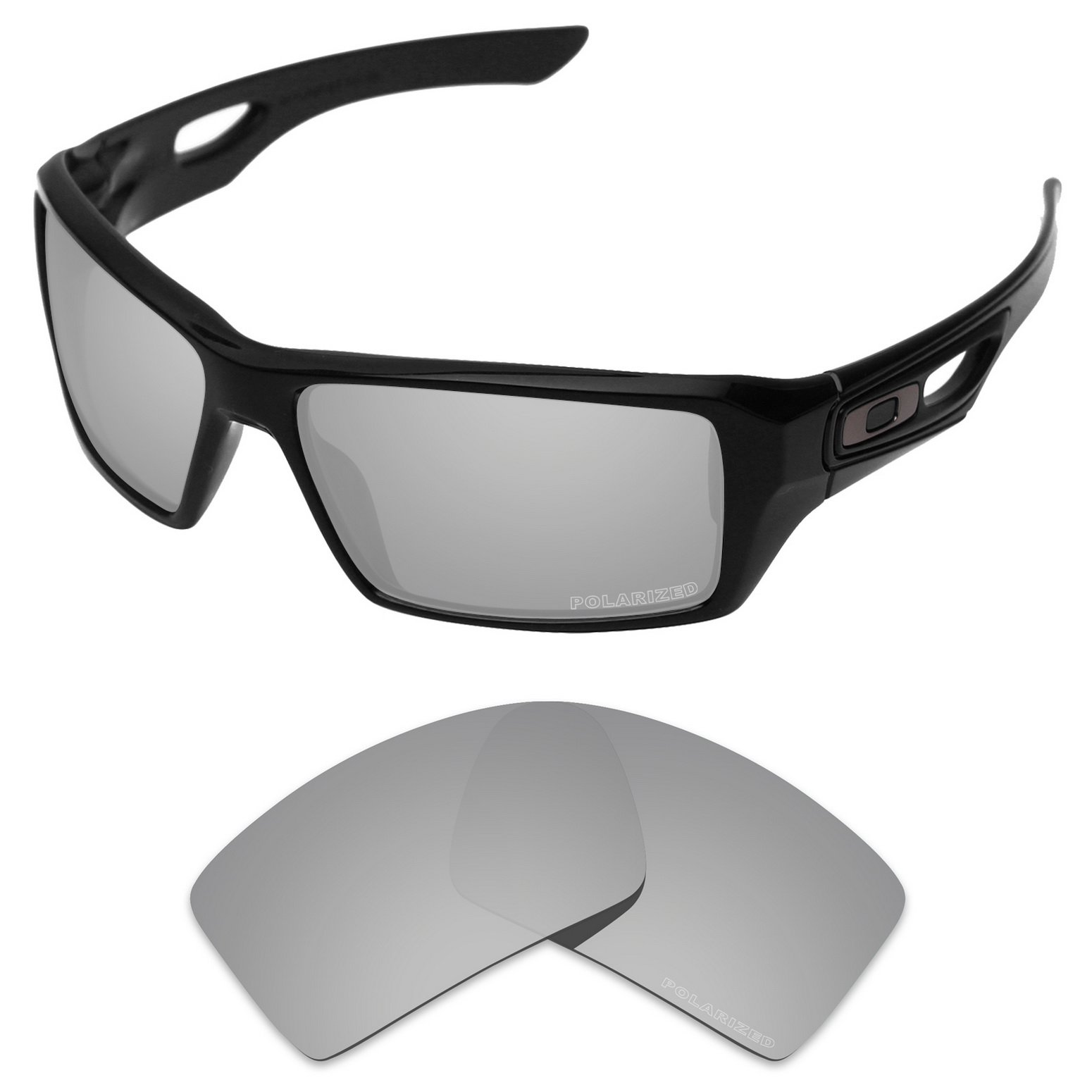Tintart Performance Replacement Lenses for Oakley Eyepatch 1&2 Sunglass Polarized Etched-Silver Metallic