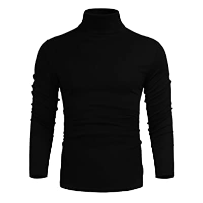 AKEWEI Mens Slim Fit Basic Thermal Turtleneck T Shirts Casual Pullover Sweaters at Men's Clothing store