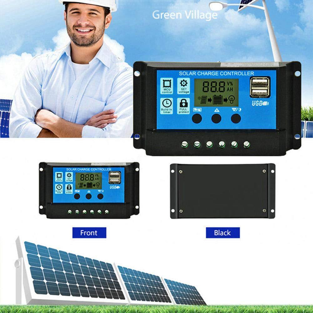 Domybest 12V 24V HD LCD Contr/ôleur de Charge Solaire PWM Double Sortie USB R/égulateur de Charge Solaire pour Panneau de Cellule Solaire 10A